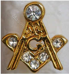 square and Compass Lapel pin with stones