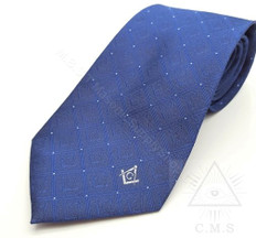 Royal Blue Masonic Tie with Square & Compass Design