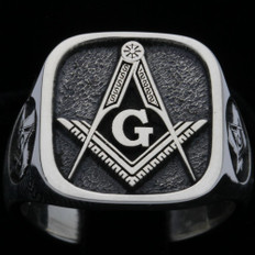 Custom  Silver Masonic Square Face Ring  --- Your choice of Symbols