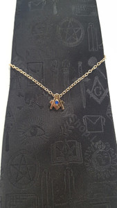 Tie Chain with Masonic Square & Compass with Blue Austrian Crystal