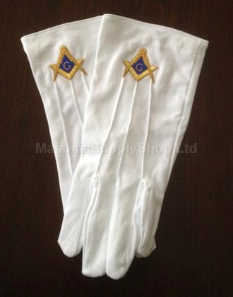Masonic Dress Gloves with Gold and Blue Square & Compass