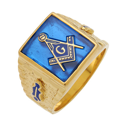 SQUARE FACE GOLD MASONIC BLUE LODGE RING WITH CHOICE OF STONE COLOUR AND SIDE EMBLEMS HOM597BL