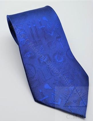 Royal Blue Masonic Symbols Tie