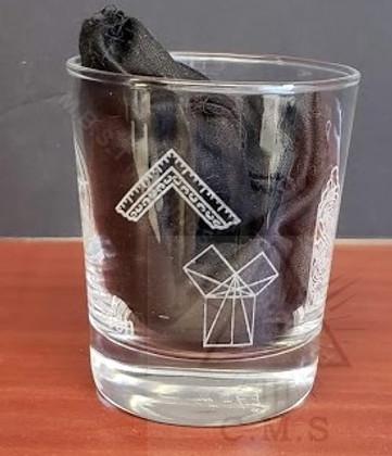 Masonic Whiskey Glass with symbols