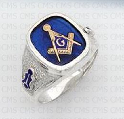 SQUARE STERLING SILVER BLUE LODGE MASONIC RING WITH BLUE STONE AND SYMBOLS MASCJ540