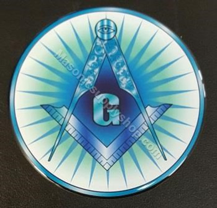 Car Decal  Square & Compass  with  G on Blue Rays
