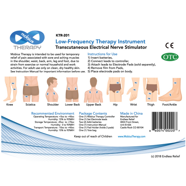 Mobius Therapy TENS Kit, (1) Pair 150mg CBD Pads included