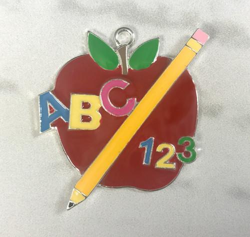 47*37mm, Back to School Pendant, Red Apple Pendant, Pencil, ABC, 123, Enamel Pendant, School Pendants, Chunky Necklace Beads, Wholesale Pendants,(681)