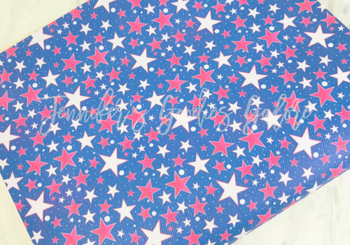 """20x34cm (7.8"""" x 13.4""""), Patriotic Synthetic Leather, Stars Fabric, July 4th Fabric Sheet, Holiday Print Leather, Leather Fabric, Faux Leather Fabric Sheet, Fabric, DIY Hair Bows, 1 Sheet (111)"""