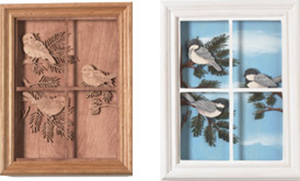These are chickadees in the window. Use the Chickadees in the Window Scroll Saw Pattern to make your own.