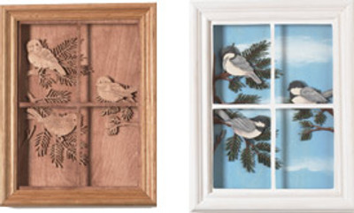 Chickadees in the Window Scroll Saw Pattern