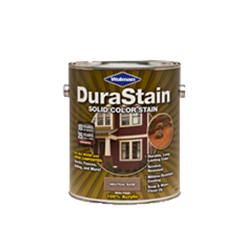 WOLMAN DURASTAIN 18216 SOLID COLOR EXTERIOR WOOD STAIN WHITE BASE 100% ACRYLIC ONE GALLON