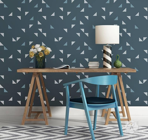 Royal Design Raven+Lily Aztec Triangles Wall Stencil