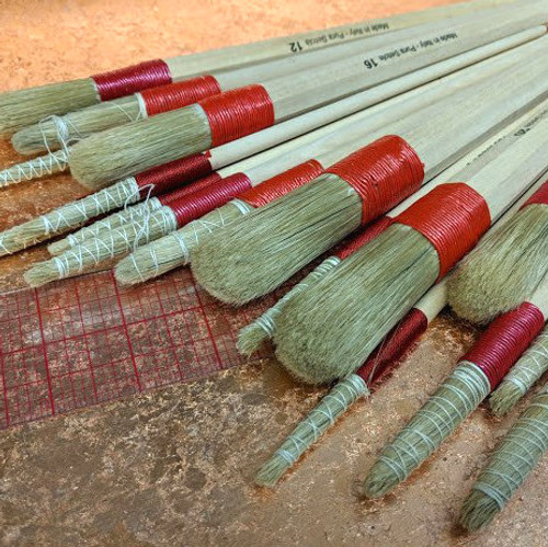 Assorted Natural Bristle Cord Bound Brushes, pointed and domed.