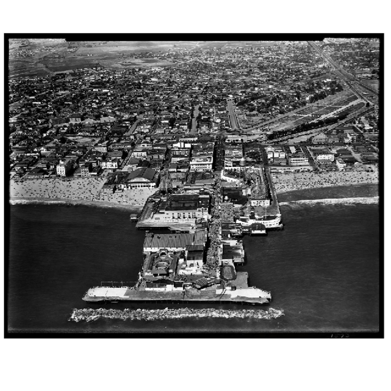 Aerial Photograph of the Original Venice Pier, circa 1930, Framed ...