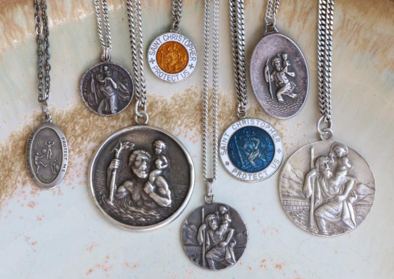 Authentic vintage st christopher pendants surfing cowboys these st christophers are seriously sought after protective amulets of surfers travelers featuring the aloadofball Choice Image