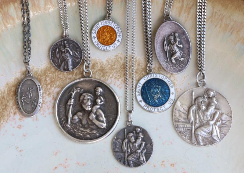 Authentic vintage st christopher pendants surfing cowboys these st christophers are seriously sought after protective amulets of surfers travelers featuring the mozeypictures Gallery