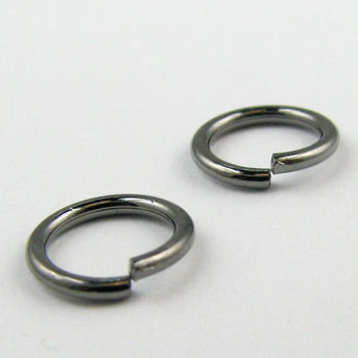 8mm Open Jump Ring, Gunmetal Plated (pkg of 100)