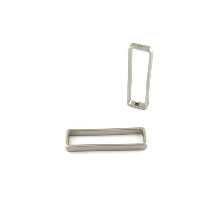 Satin Rhodium 26mm x 8mm Rectangular Bead Frame w/Hole on each end (Sold by the Piece)