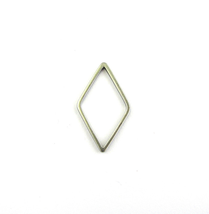 Satin Rhodium 23mm x 13mm Triangular Bauble. Also Used As Pendant or Charm (Sold by the Piece)