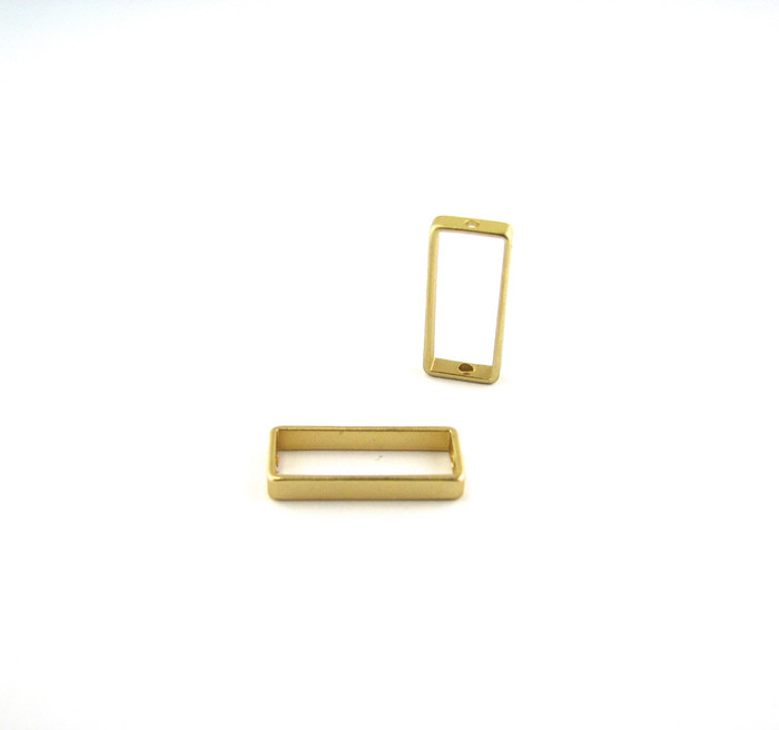 Satin Hamilton Gold 17mm x 8mm Small Rectangular Bead Frame w/hole on each end (Sold by the Piece)