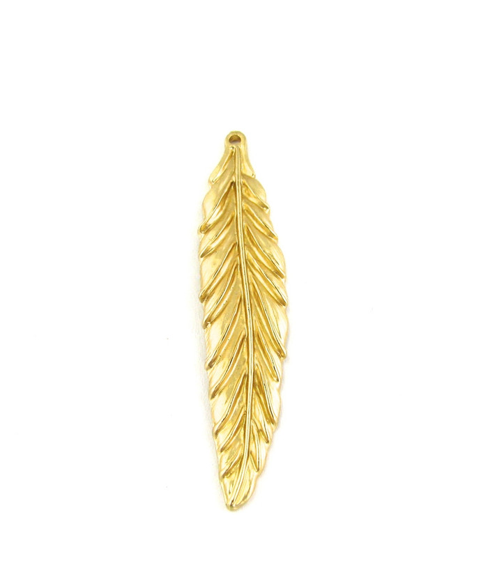 Satin Hamilton Gold 57mm Large Feather Pendant (Sold by the Piece)