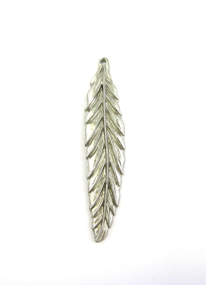 Satin Rhodium 57mm Large Feather Pendant (Sold by the Piece)