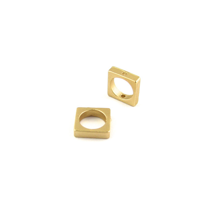 Satin Hamilton Gold 8.5mm Small Square Bead Frame w/hole on each end (Sold by the Piece)