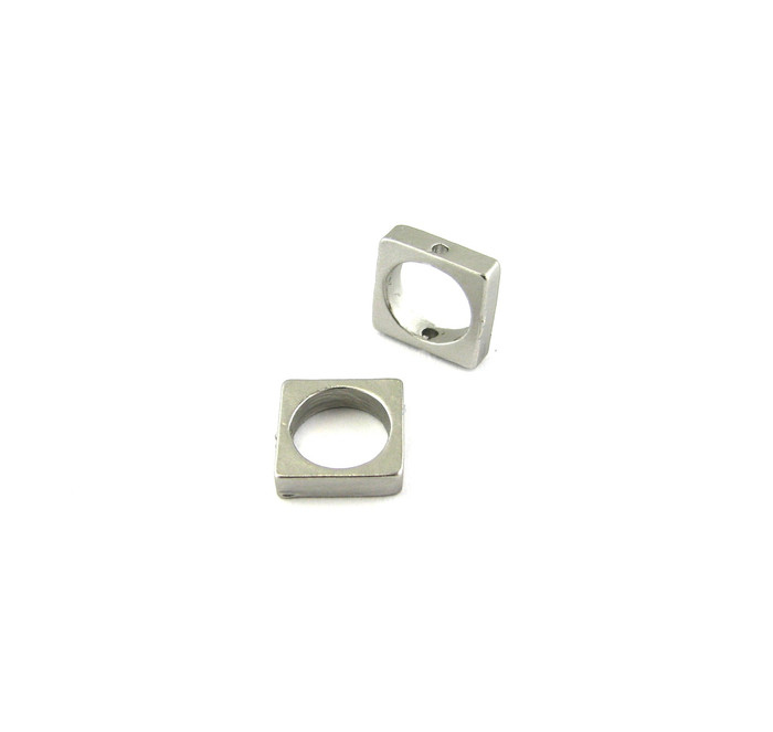 Satin Rhodium 8.5mm Small Square Bead Frame w/hole on each end (Sold by the Piece)