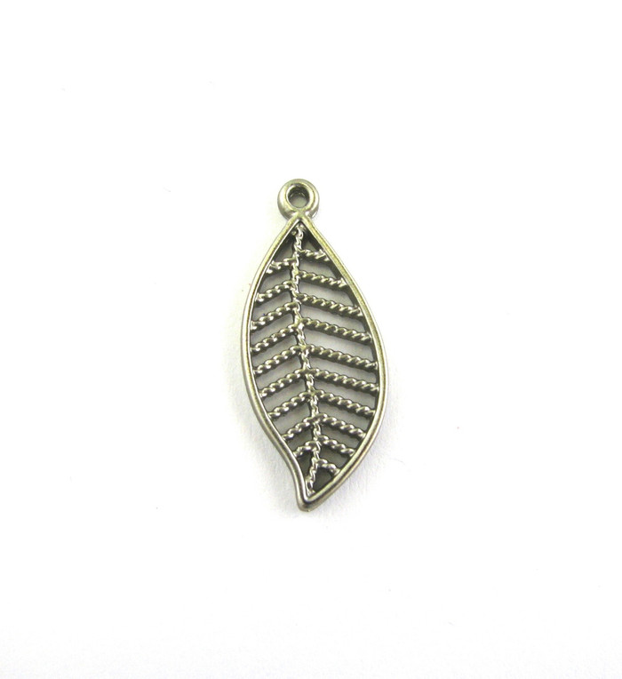 Satin Rhodium 27mm Leaf Style Charm. Also used as Drop or Pendant (Sold by the Piece)