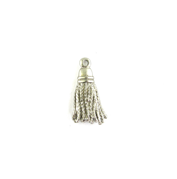 Satin Rhodium 21mm Metal Tassel Charm (Sold by the Piece)