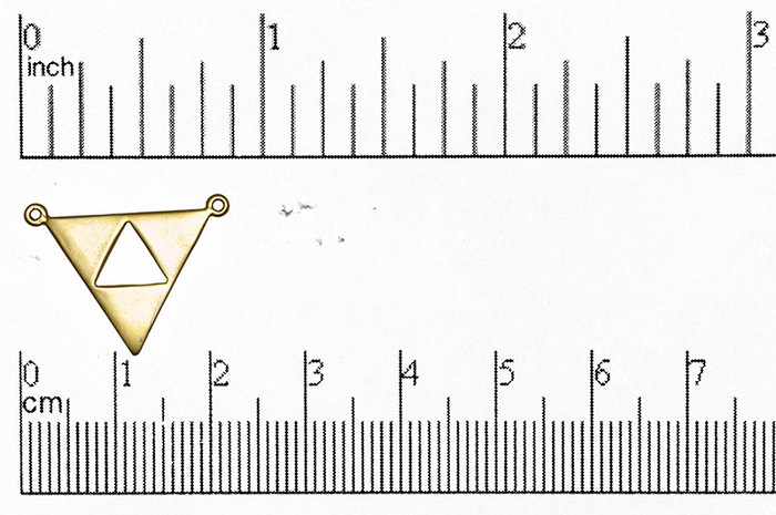 Satin Hamilton Gold 21mm Flat Triangle Cutout in Triangle 2-hole Pendant (Sold by the Piece)