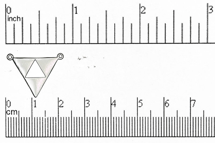Satin Rhodium 21mm Flat Triangle Cutout in Triangle 2-hole Pendant (Sold by the Piece)