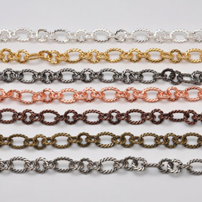 CH812-AS - 12mm Twisted Chain, Electroplated (Antique Silver)