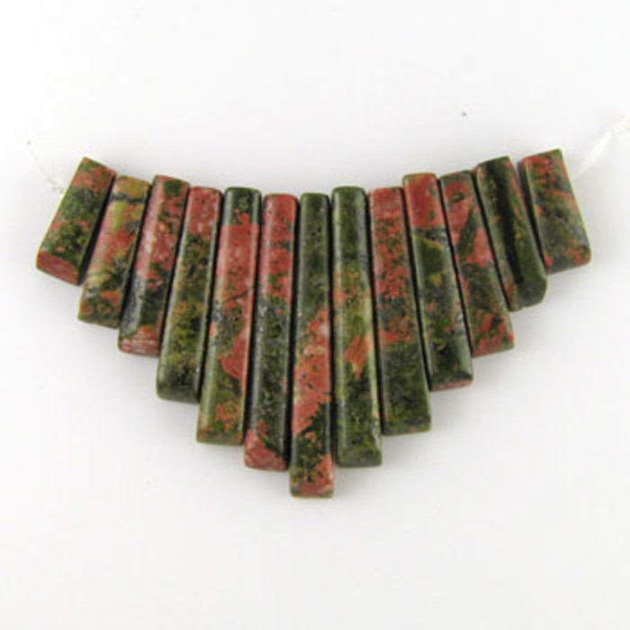 CL0005 - Unakite Semi-Precious Stone Collar (13 pieces)