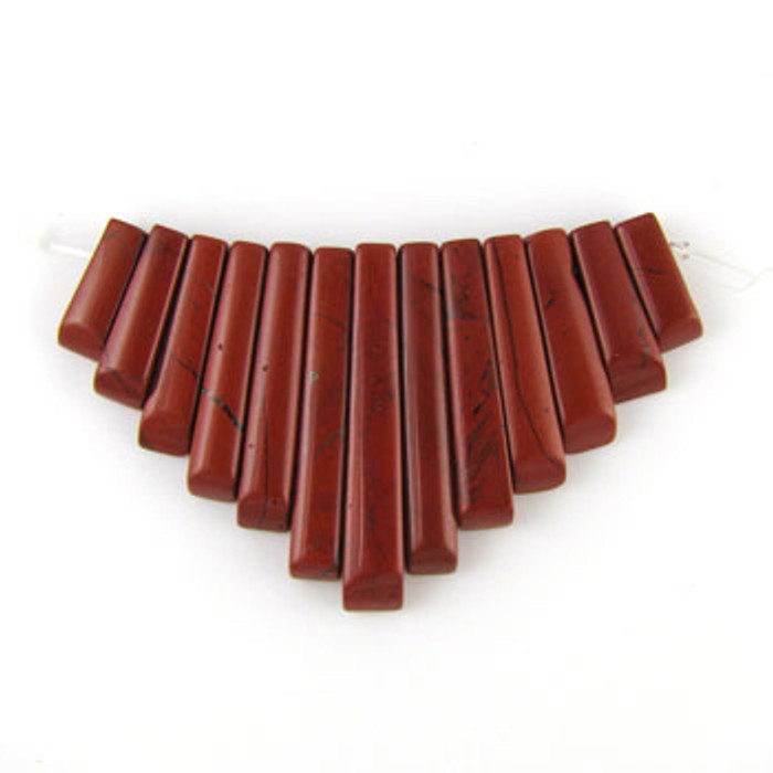 CL0006 - Red Jasper Semi-Precious Stone Collar (13 pieces)
