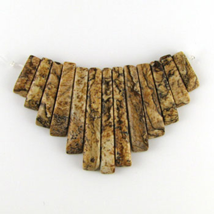 CL0015 - Picture Jasper Semi-Precious Stone Collar (13 pieces)