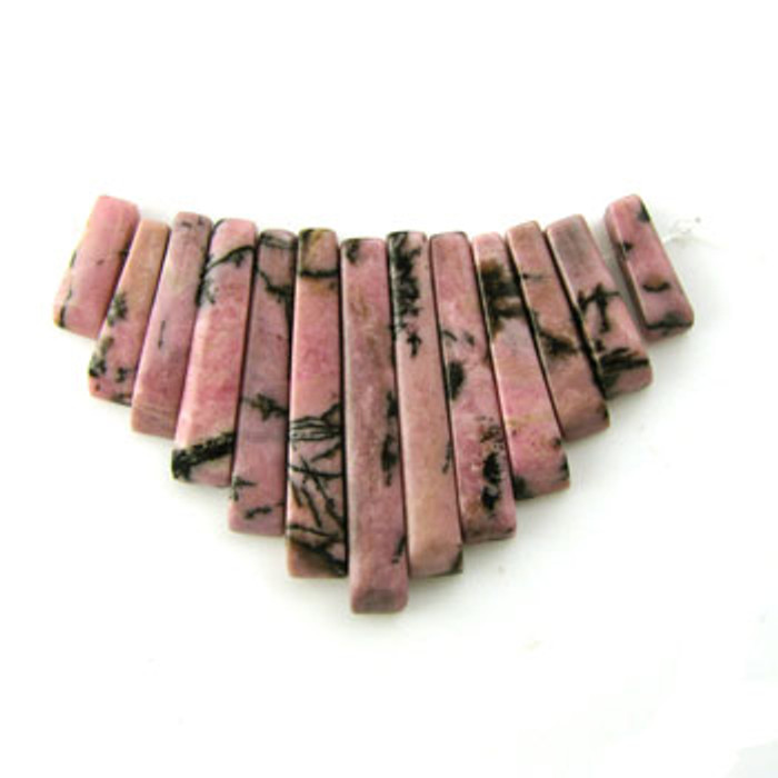 CL0024 - Rhodonite Semi-Precious Stone Collar (13 pieces)