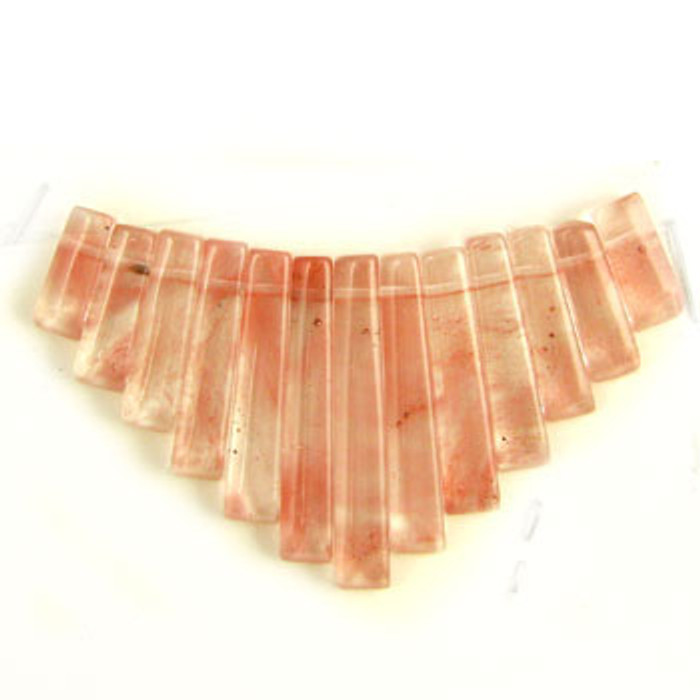 CL0037 - Strawberry Quartz Semi-Precious Stone Collar (13 pieces)