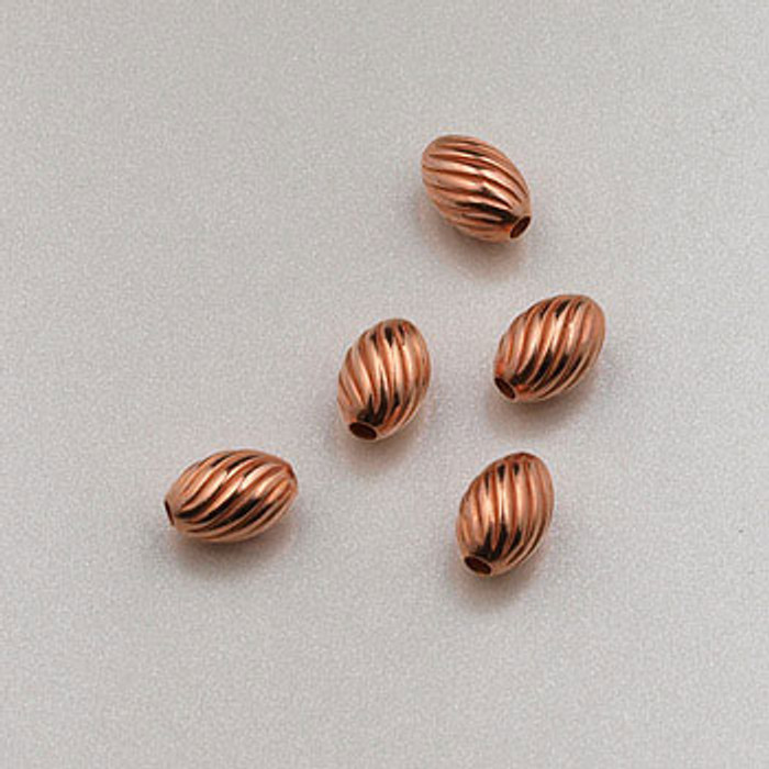 COP0012 - 3x5mm Twist Melon Beads, Solid Copper (pkg of 50)