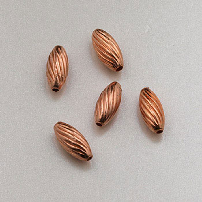 COP0013 - 3x7mm Twist Melon Beads, Solid Copper (pkg of 50)