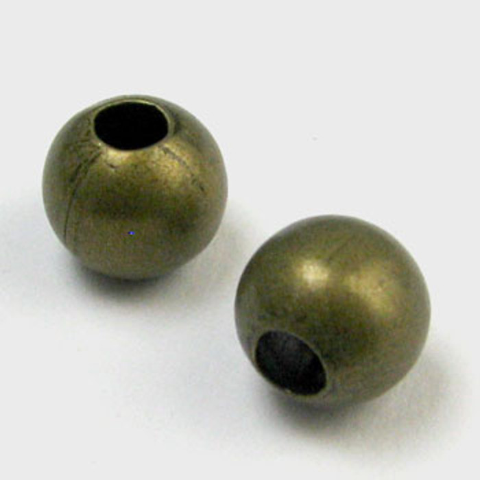 8mm Round Beads, Antique Brass Plated (pkg of 100)