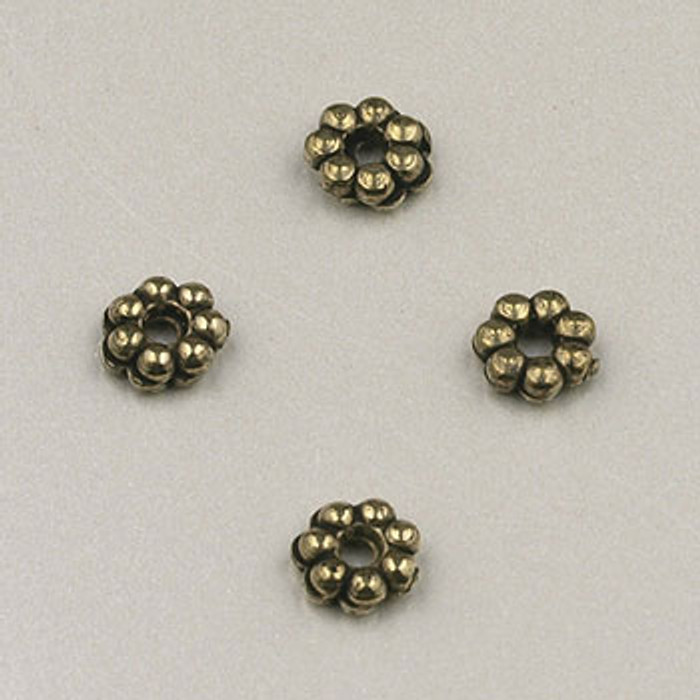 GP0003 - 4mm Daisy Spacer, Antique Oxidized Gold Plate (pkg of 144)