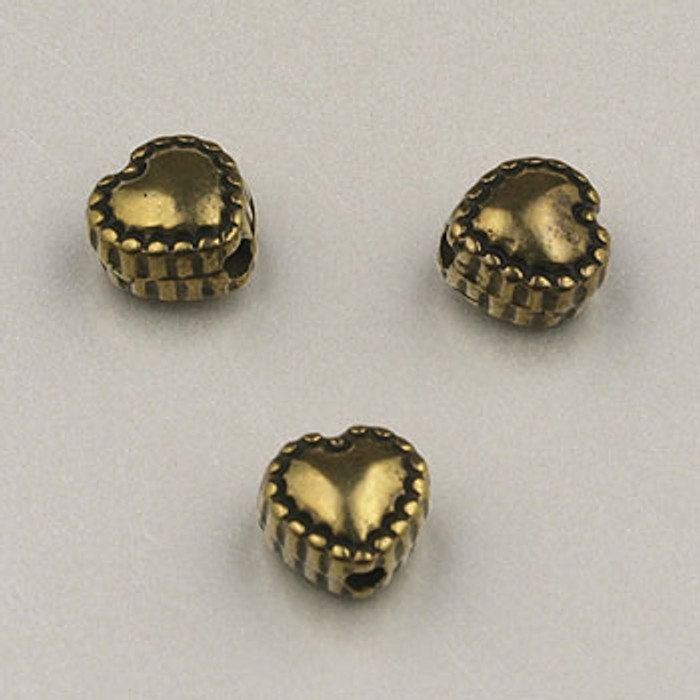 GP0029 - 6mm Beaded Heart, Antique Oxidized Gold Plate (pkg of 100)