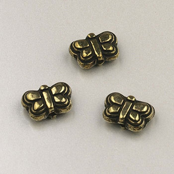 GP0033 - 8mm 3-D Butterfly, Antique Oxidized Gold Plate (pkg of 100)