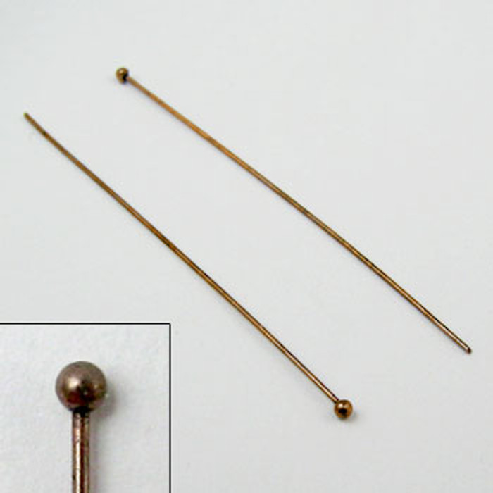 2 in. Ball-End Headpin, 24 gauge, Antique Copper Plated (pkg of 100)