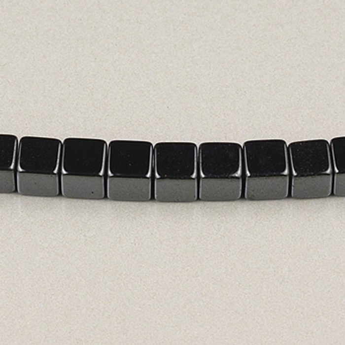 H006 - 4x4mm Cube, Hematite (16 in. strand)
