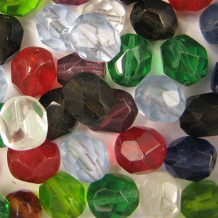 MIX0094 - India Fire Polish Mix - approx. 8mm faceted rounds (assorted colors) - approx. 60 beads per 50 grams