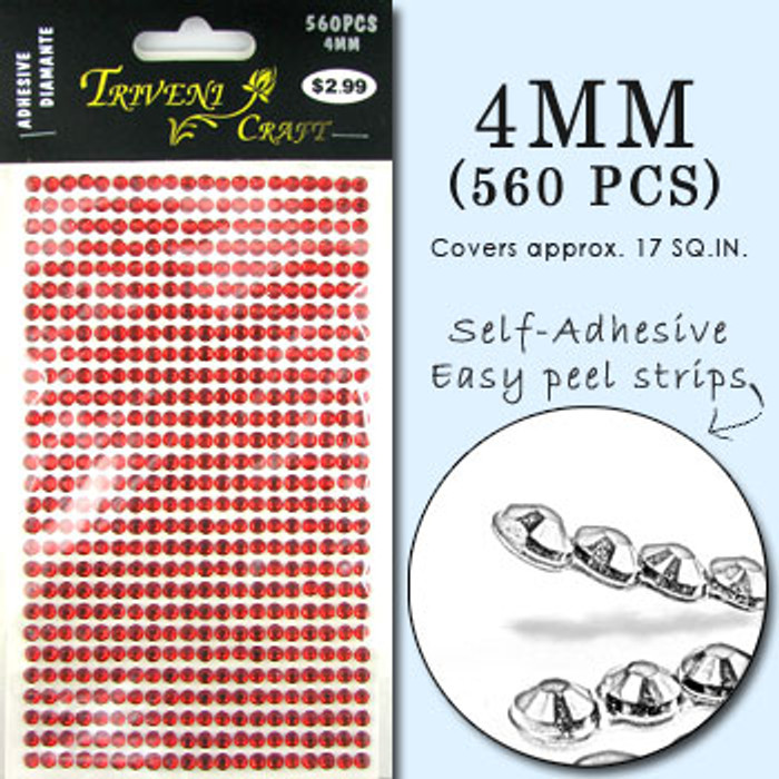 4mm Red Flatback Rhinestones (560 pcs) Self-Adhesive - Easy Peel Strips
