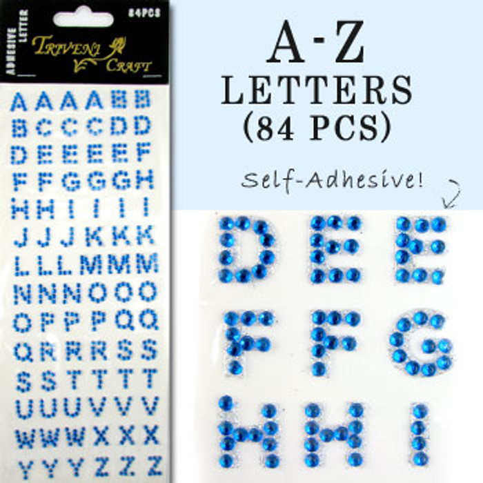10mm (3/8 in.) Blue Alphabet Letters, Flatback Rhinestones (84 pcs) Self-Adhesive - Easy Peel Strips